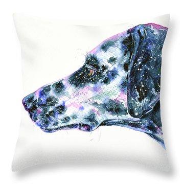Throw Pillow featuring the painting Dalmatian by Zaira Dzhaubaeva