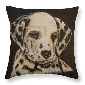 Throw Pillow featuring the painting Dalmation by Betty-Anne McDonald