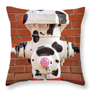 Throw Pillow featuring the photograph Dalmation Hydrant by James Eddy