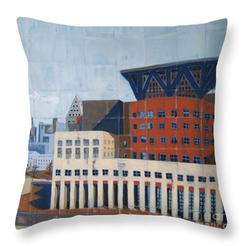 Throw Pillow featuring the painting Dam Public Library by Erin Fickert-Rowland