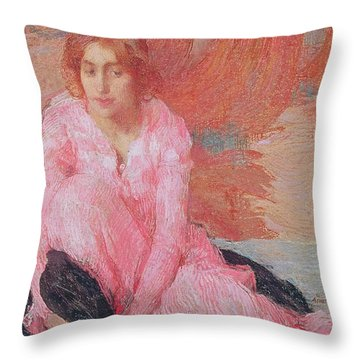 Dame En Rose Throw Pillow by Edmond Francois Aman Jean