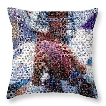 Dan Marino Mosaic Throw Pillow by Paul Van Scott