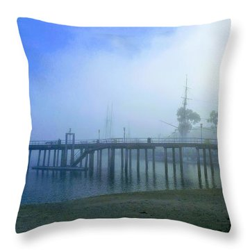 Dana Point Harbor When The Fog Rolls In Throw Pillow