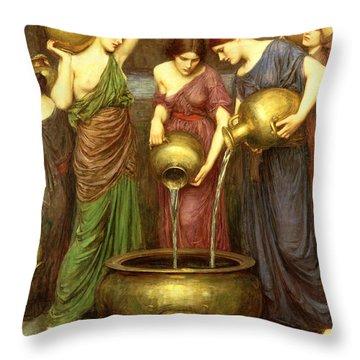 Danaides Throw Pillow by John William Waterhouse
