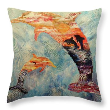 Dance At Dawn Dolphin Throw Pillow