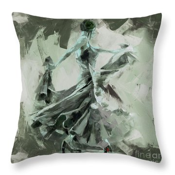 Throw Pillow featuring the painting Dance Flamenco Art  by Gull G