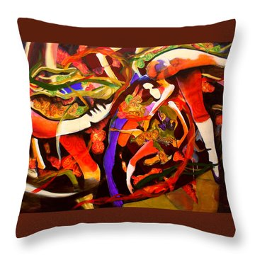 Throw Pillow featuring the painting Dance Frenzy by Georg Douglas