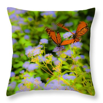Dance Of The Butterflies Throw Pillow by Edward Peterson