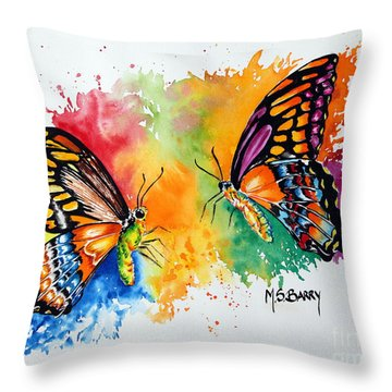 Dance Of The Butterflies Throw Pillow by Maria Barry