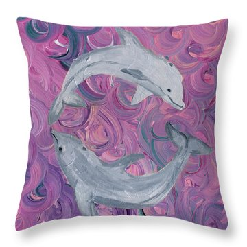 Dance Of The Dolphins Throw Pillow