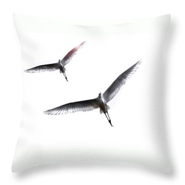 Dance Of The Egrets Throw Pillow