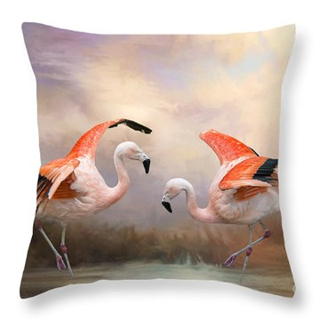 Dance Of The Flamingos  Throw Pillow by Bonnie Barry