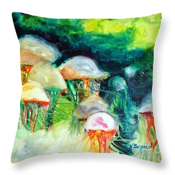 Dance Of The Jellyfish Throw Pillow by Kathy Braud