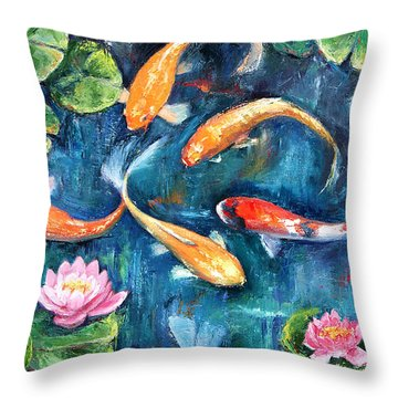 Throw Pillow featuring the painting Dance Of The Koi by Jennifer Beaudet