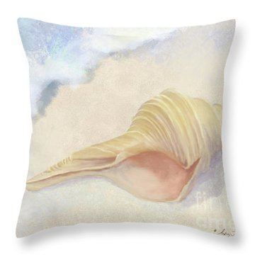 Throw Pillow featuring the painting Dance Of The Sea - Australian Trumpet Shell Impressionstic by Audrey Jeanne Roberts