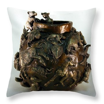 Throw Pillow featuring the sculpture Dance Of The Seasons - Bronze Bowl With Bear Cubs by Dawn Senior-Trask