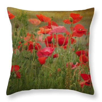 Dance Through The Poppies Throw Pillow by Carolyn Dalessandro