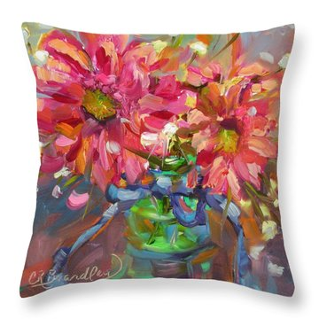 Throw Pillow featuring the painting Dance With Daisies by Chris Brandley