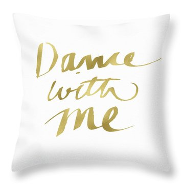 Dance With Me Gold- Art By Linda Woods Throw Pillow