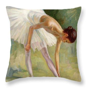Dancer Adjusting Her Slipper. Throw Pillow