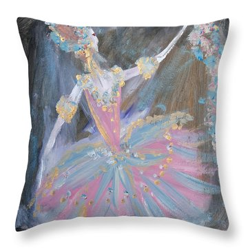 Dancer In Pink Tutu Throw Pillow