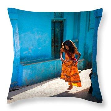 Dancer In The Light Throw Pillow by Marji Lang
