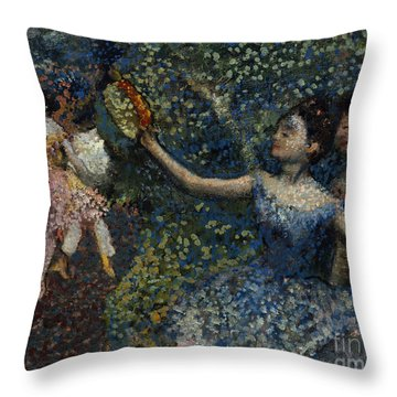 Dancer With A Tambourine Throw Pillow by Edgar Degas