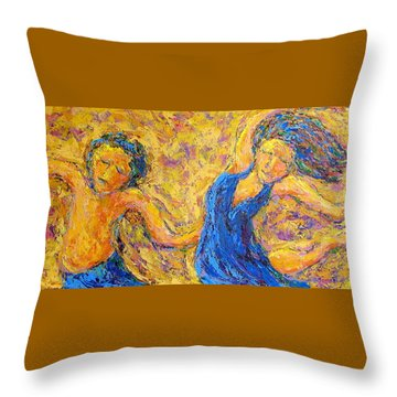 Dancers Throw Pillow by Kat Griffin