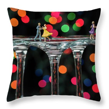 Dancers On Wine Glasses Throw Pillow