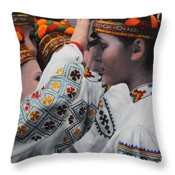 Dancers Preparing Throw Pillow