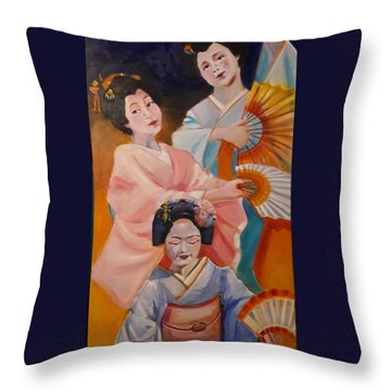 Dances With Fans Throw Pillow