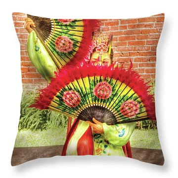 Dancing - The Fan Dance Throw Pillow by Mike Savad
