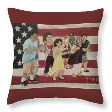 Dancing Americans Throw Pillow by Saundra Johnson