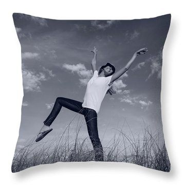 Dancing At The Beach Throw Pillow by Amyn Nasser