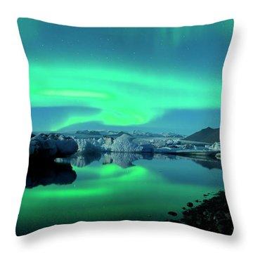 Dancing Auroras Jokulsarlon Iceland Throw Pillow