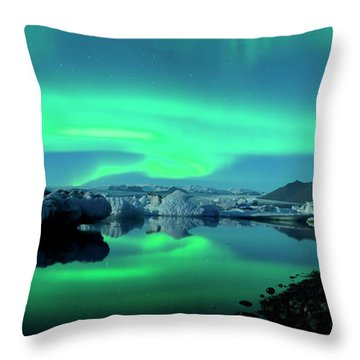 Dancing Auroras Jokulsarlon Iceland Throw Pillow