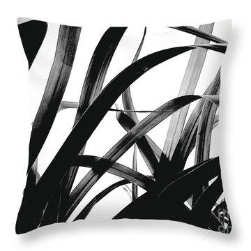 Throw Pillow featuring the photograph Dancing Bamboo Black And White by Rebecca Harman