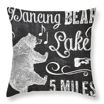 Dancing Bear Lake Rustic Cabin Sign Throw Pillow