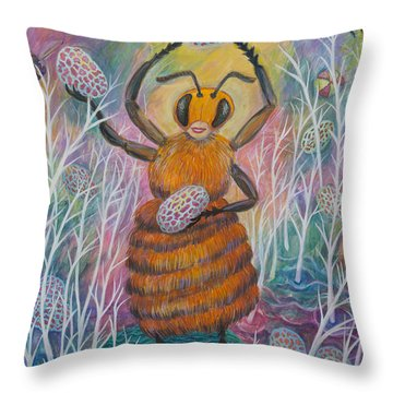 Dancing Bee Throw Pillow
