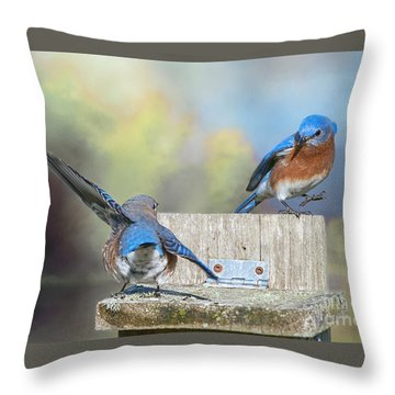Dancing Bluebirds Throw Pillow