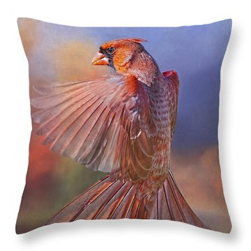 Dancing Cardinal  Throw Pillow