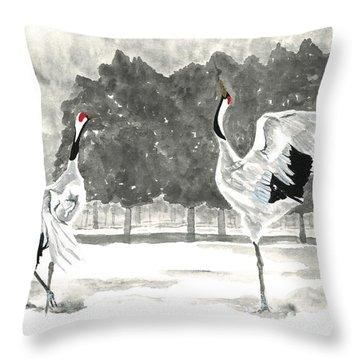 Dancing Crane II Throw Pillow