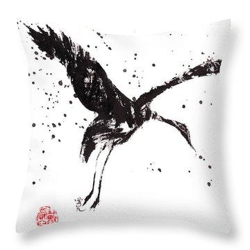 Dancing Crane Throw Pillow