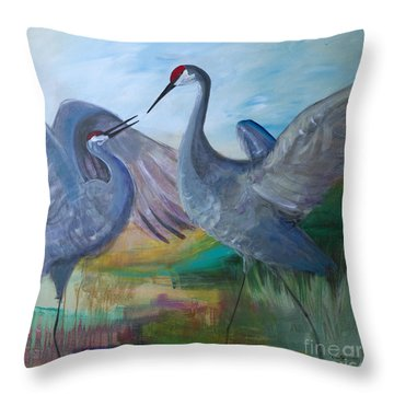 Dancing Cranes Throw Pillow