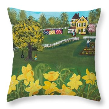 Throw Pillow featuring the painting Dancing Daffodils by Virginia Coyle