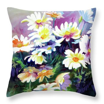 Throw Pillow featuring the painting Dancing Daisies by Kathy Braud