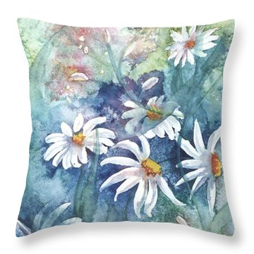 Throw Pillow featuring the painting Dancing Daisies by Renate Nadi Wesley