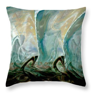 Dancing Dolphins Throw Pillow by Linda Sannuti