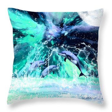 Dancing Dolphins Under The Moon Throw Pillow