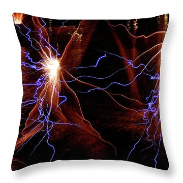 Throw Pillow featuring the photograph Dancing Fireworks #0707 by Barbara Tristan